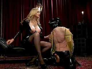 Spandex Mistress Julia Ann Manhandles Her House Boy With Her Feet