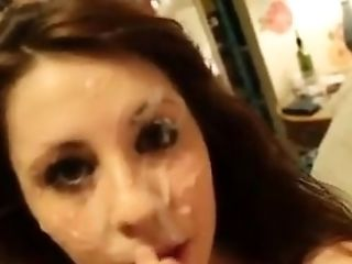 Gf Gets A Decent Fountain Of Jizz In Her Face And Loves It