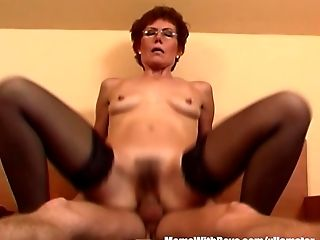 Ginger-haired Granny In Laced Stockings Fucks Youthfull Dick