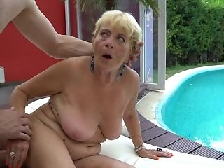 Nasty Old Blonde That Loves Schlong Is Getting Fucked By The Pool