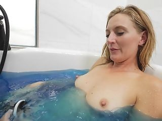 Skinny Blonde Mummy Mona Plays With A Fuck Stick In A Soapy Bathtub
