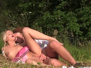 Blonde Country Dame With Ponytails Pounded Rear End Style Hard-core