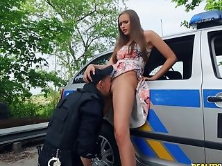 Old Cop Harshly Fucked Youthfull Doll In His Patrol Car