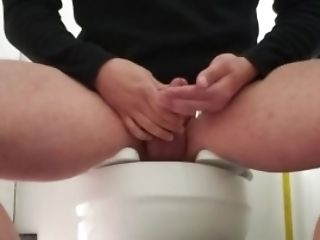 Public Bathroom Boy Strokes & Drinks Jizm Three Times At Work.