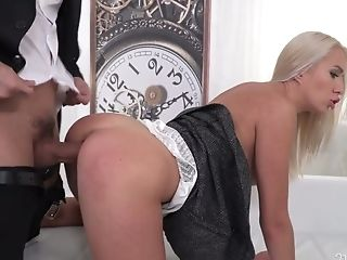 Ukrainian Assistant Angelika Grays Gets Dual Penetrated In The Office
