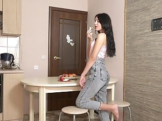 Lengthy Haired Dark Haired Julia Swank Shows Off Yummy Cootchie Rear End Style