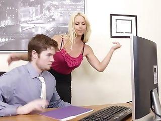 Huge-chested Platinum-blonde Sarah Vandella Tempts Employee