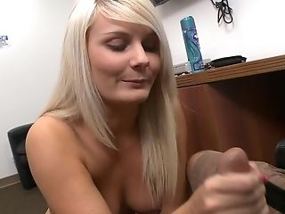 Lengthy Haired Blonde Darling Gives A Terrific Handjob To Her Paramour